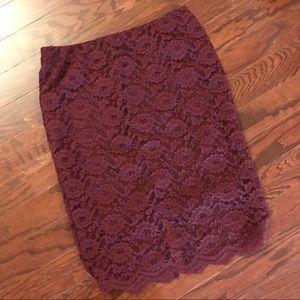 NWT Burgundy lace pencil skirt Sz M